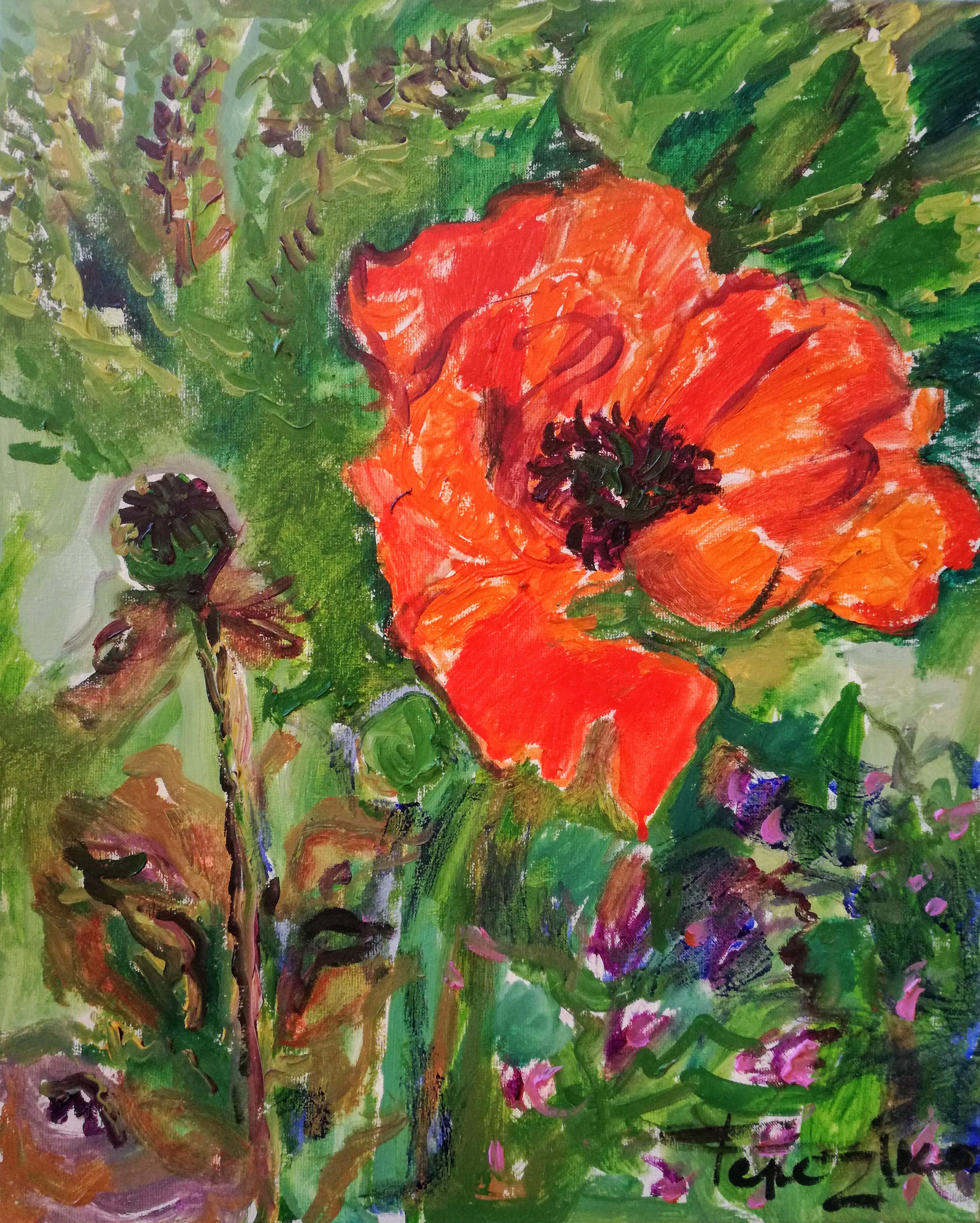Poppy flower oil on canvas painting